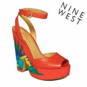 EUC- Nine West Brasil - Vibrant Orange Wedges